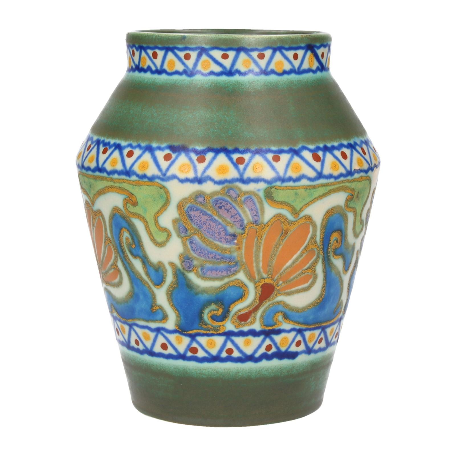 un gouda pottery crocus motif vase années 1920 hollandaise art deco